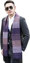 Surker Men Stripe Scarf Wool Shawl Striped Knitted Wrap with Fringe