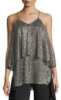 Halston Metallic-Jersey Flounced Sleeveless Top