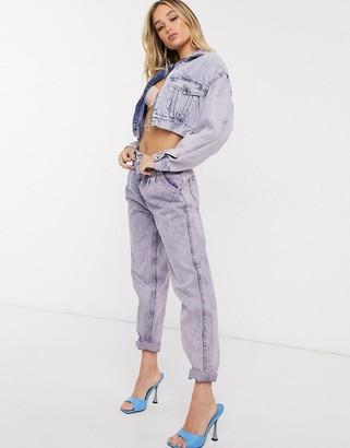 Pepe Jeans Dua Lipa x high rise vintage inspired mom jeans in acid wash