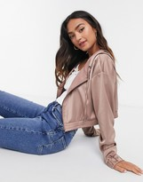 Daisy Street satin cropped jacket in nude