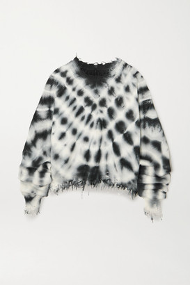 Unravel Project Distressed Ribbed Tie-dyed Cotton And Cashmere-blend Sweater - Black