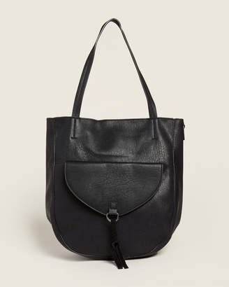 Street Level Black Tassel Flap Pocket Tote