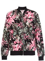 Quiz Black And Pink Crepe Floral Bomber Jacket