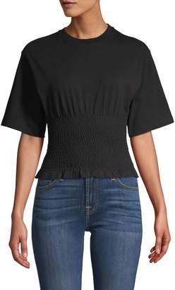 Rebecca Minkoff Shirred Short-Sleeve Cotton Top