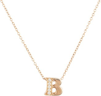 Latelita Diamond Initial Letter Pendant Necklace Rose Gold B