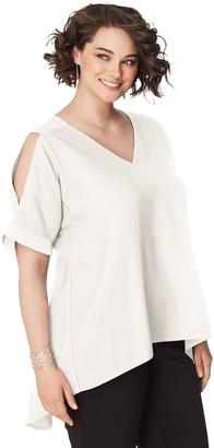Just My Size Women's Plus Short Sleeve ShoulderDolman Top