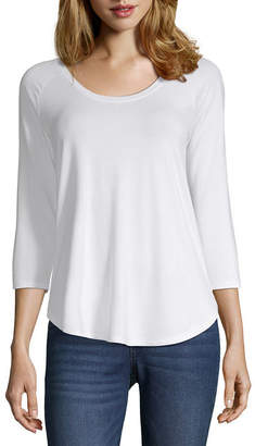 A.N.A Petite Womens Scoop Neck 3/4 Sleeve T-Shirt