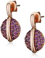 Fiorelli Gold 9ct Rose Gold Rhodolite Garnet Pave Set Disc Earrings