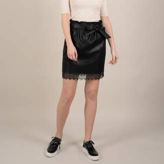 Molly Bracken Lace-Trim Tie Front Skirt in Faux Leather