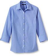 Lands' End Women's Petite 3/4 Sleeve Broadcloth Dobby Dot Shirt-Light Blue/True Blue Stripe