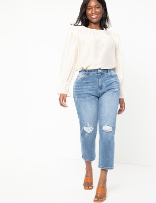 ELOQUII Stretch Denim Mom Jean