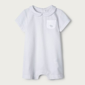 The White Company Unisex Seersucker Shortie , Grey, Newborn