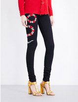 Gucci Serpent-embroidered skinny mid-rise jeans