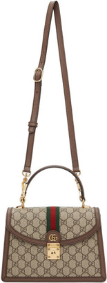 Gucci Brown and Beige Small Ophidia Top Handle Bag