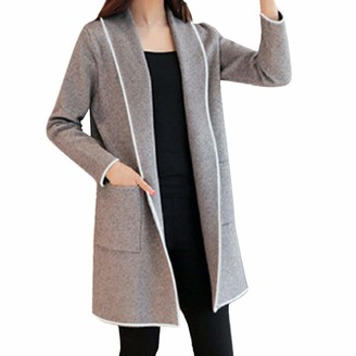 waitFOR Sale Women Cardigan Autumn Winter Loose Hooded Windbreaker Long Sleeve Solid Color Wild Elegant Sweater Ladies Open Front Outerwear Trenchcoat Gray