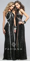 Faviana Shimmer Two Tone Sequin Prom Dress