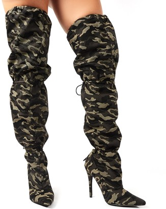 Public Desire Harem Camo Stiletto Heeled Over the Knee Boots