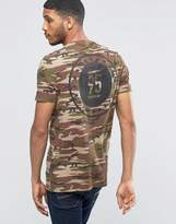 Asos Longline T-Shirt In Camo With Back Print In Khaki