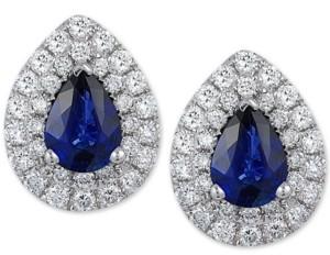 Effy Sapphire (1-3/8 ct. t.w.) & Diamond (3/4 ct. t.w.) Stud Earrings in 14k White Gold