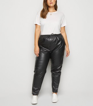 New Look Curves Coated Leather-Look Joggers