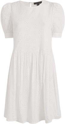 New Look Broderie Puff Sleeve Smock Dress