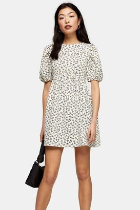 Topshop Womens Petite Ditsy Babydoll Puff Sleeve Dress - Multi