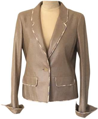 Chanel Grey Leather Jackets