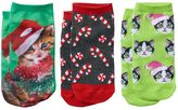 Pink Cookie Girls 4-16 3-pk. Cats in Garland Holiday Low-Cut Socks