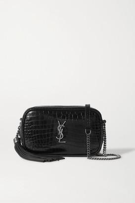 Saint Laurent Lou Mini Croc-effect Leather Shoulder Bag - Black