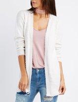 Charlotte Russe Fuzzy Knit Longline Cardigan