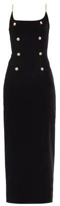 Alessandra Rich Chain-strap Velvet Maxi Dress - Black