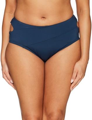 Jessica Simpson Women's Plus Size Crossed Front Bikini Bottom Solid Navy 0X