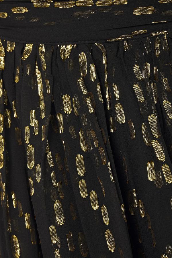 Thumbnail for your product : BA&SH Junon Metallic Fil Coupe Silk-blend Chiffon Halterneck Mini Dress