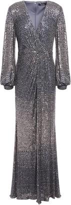 Badgley Mischka Wrap-effect Degrade Sequined Mesh Gown