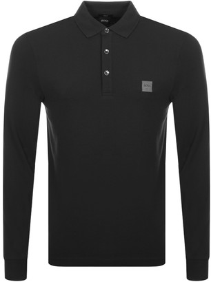 BOSS Long Sleeved Polo T Shirt Black