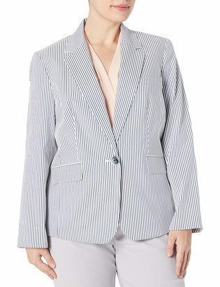 Nine West Women's Plus Size 1 Button Notch Collar Stripe Jacket