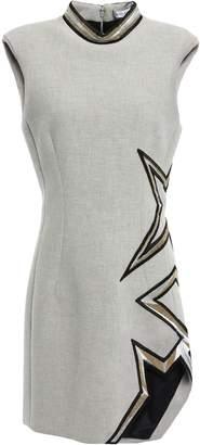 Thierry Mugler Asymmetric Embellished Woven Mini Dress