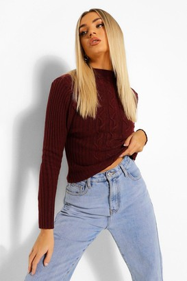 boohoo Puff Sleeve Cable Knit Jumper