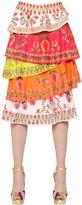 Manish Arora Sequined & Printed Layered Crepe Skirt
