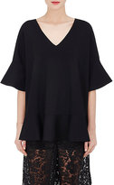 Valentino Women's Compact Knit Ruffle Top-BLACK