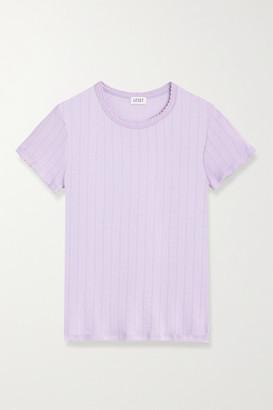 Leset Pointelle-knit Cotton T-shirt - Lilac