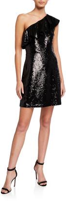 MICHAEL Michael Kors One-Shoulder Sequined Mini Dress