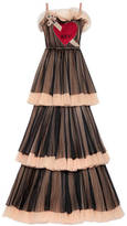 Gucci Embroidered layered tulle gown