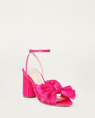 Loeffler Randall Camellia Bow Ankle Strap Heel Fuchsia