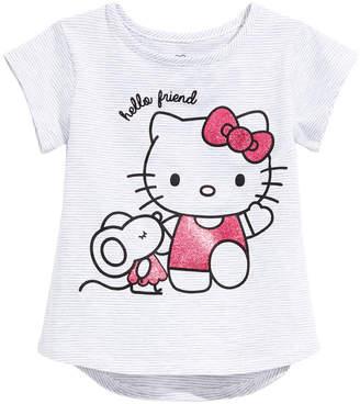 Hello Kitty Little Girls Striped Graphic-Print T-Shirt