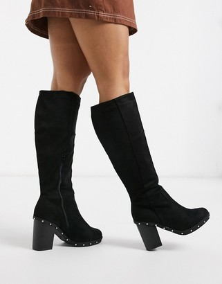 New Look studded knee boots in black