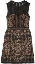 Marchesa Embellished Guipure Lace Mini Dress - Black