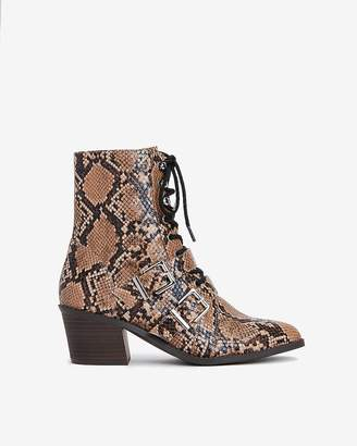Express Snakeskin Print Lace-Up Double Buckle Combat Boots
