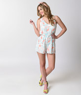 Everly Retro Style Coral & White Sleeveless Chiffon Flamingo Romper