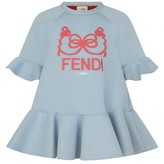 Fendi FendiGirls Blue Modal Ruffle Trim Dress